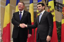 The meeting prim- minister of Moldova, Cyril Gaburici with  Klaus Johannis,  President of Romanian'