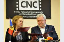 A ceremony on the signing of an agreement on cooperation between the National Cinematography Centre of Moldova and the National Cinematography Centre of Romania'