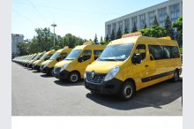 A ceremony on transmission of minibuses, a donation from the government of Romania'
